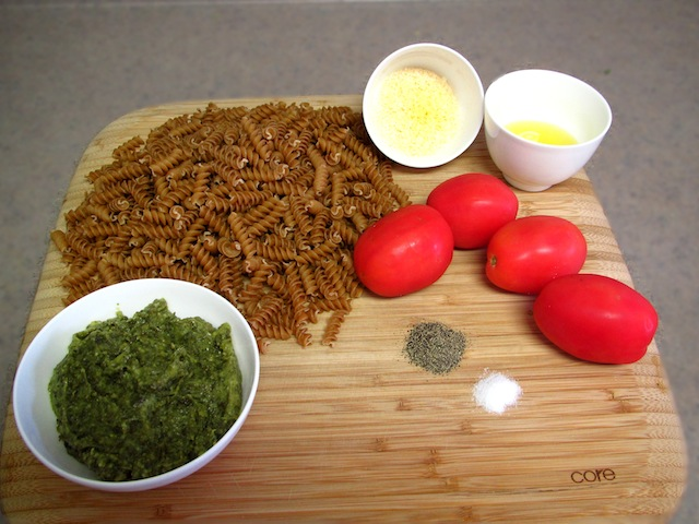 Roasted Tomatoes and Pesto Pasta Salad