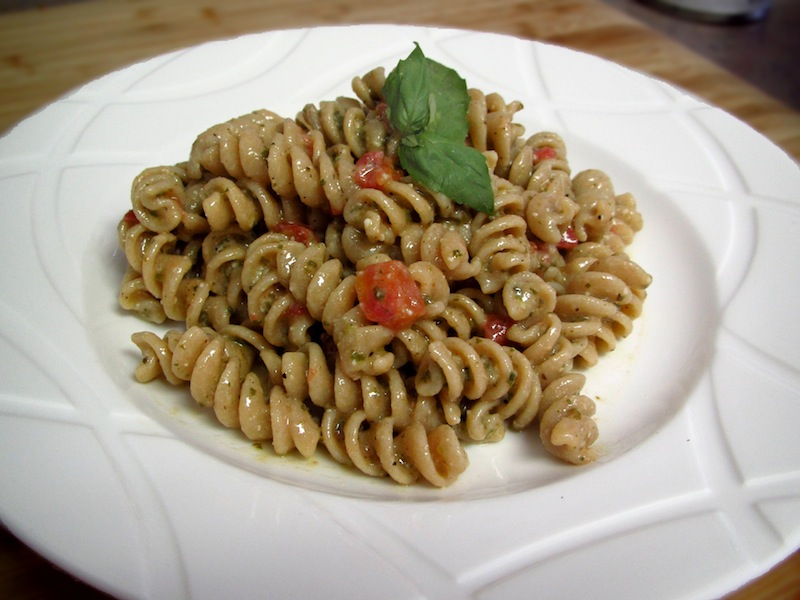 Roasted Tomatoes and Pesto Pasta Salad