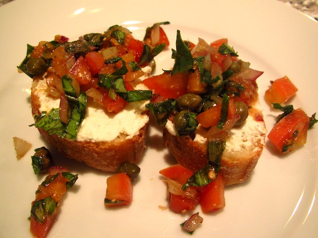 Bruschetta and Creamy Goat Cheese Spread