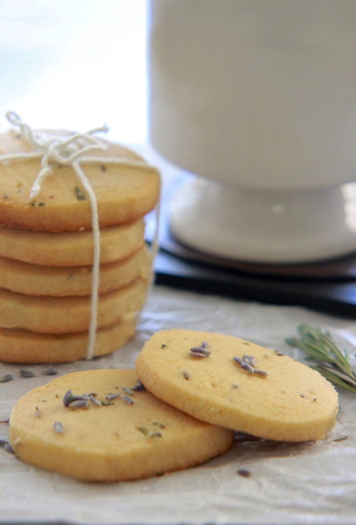 Honey Lavender and Rosemary Shortbread Cookies