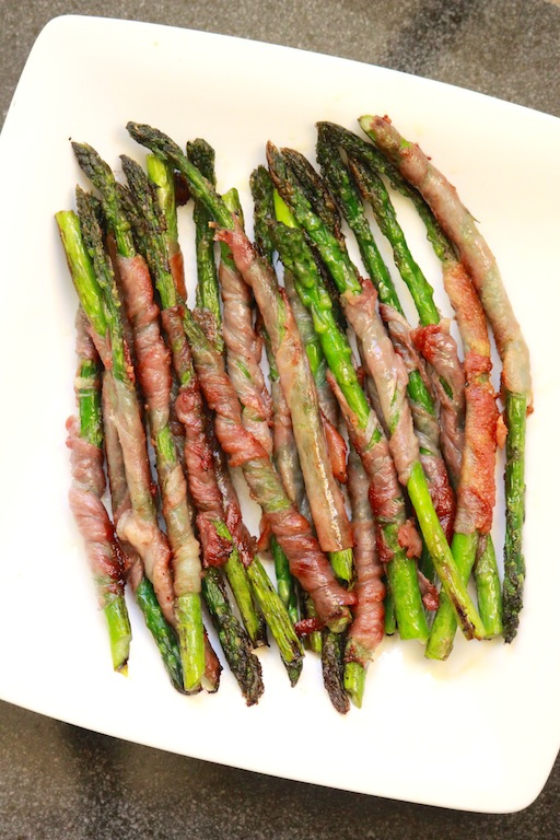 Grilled Prosciutto-Wrapped Asparagus w/ a Creamy White Wine Mushroom Sauce