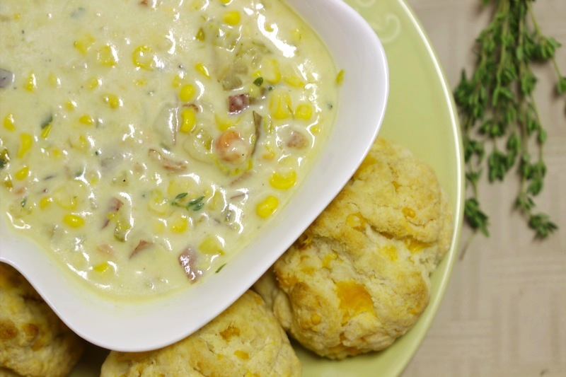 Creamy Corn Chowder and Cheddar Biscuits